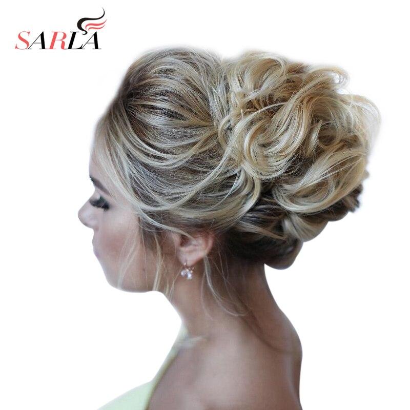 SARLA 1PC Synthetic Hair Chignon Resist High Temperature Fiber Scrunchie Extensions Donut Buns Hair Bundles Updo Hair Bun H2 Пучок