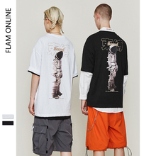 FLAM ONLINE 2019 Summer O-Neck T-shirt Hip Hop Men Couple  Harajuku Street wear Tee Shirt Cotton hop Top
