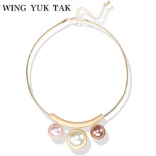 Wing Yuk Tak Collier Real Round Collares Fashion Jewelry Choker Torques Necklace Simple Snake Chain Simulated Pearl For Wome