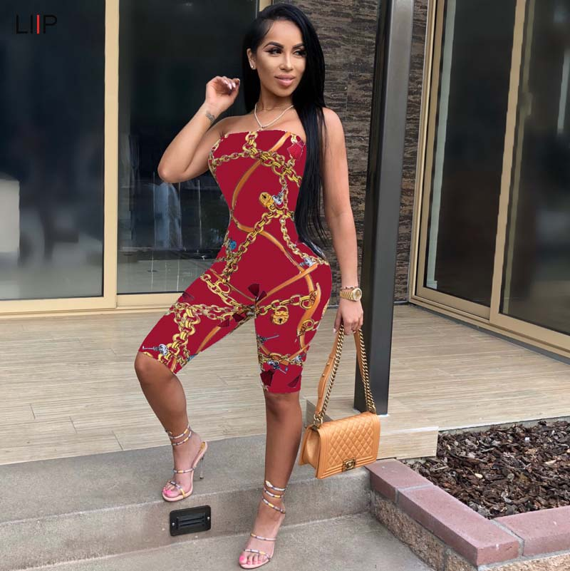 Jumpsuits 2018 Summer New Women Leaky Shoulder Tube Top Color Matching Sexy Jumpsuit Elegant Shape