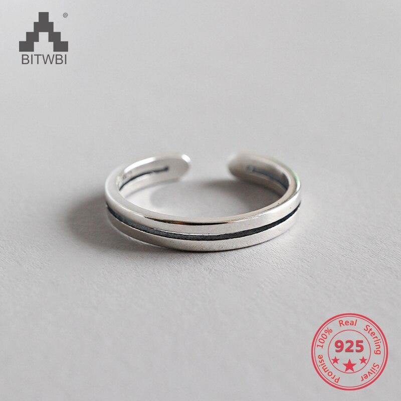 100% S925 Sterling Silber Einfache Doppel Linien Öffnung Ring 100% Original