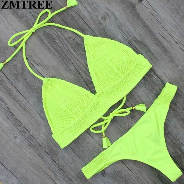 f3e6dbff45 ZMTREE New Design Sexy Brazilian Bikini 2017 Women Swimsuit Biquini Push Up  Yellow Thong Bikinis Bathing