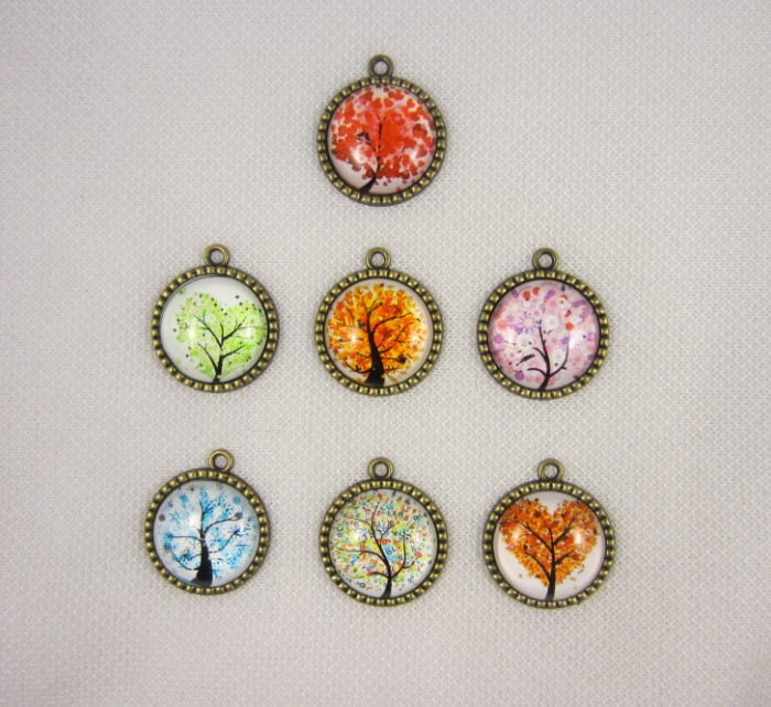 Bronze Charms Pendants Necklace-Accessories Jewelry-Making Alloy Handmade Natural-Trees