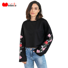 Women Hoodies Top Causal Autumn Embroidery Floral Full Long Flare Sleeve Womens Crop Tops Black Female Short Sweatshirt Pullover