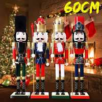 Christmas Ornaments Home Decoration Nutcracker Vintage Wooden Table Walnut Toy Handcraft Puppet 60cm 4 Designs