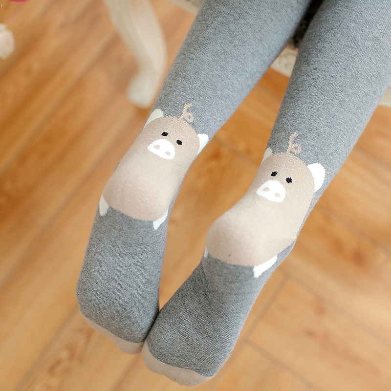 New lady wild pantyhose Cotton jacquard tights Women cartoon piglet backing stockings