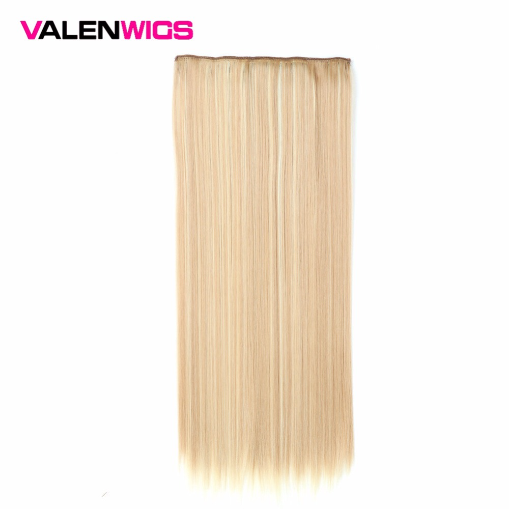 Valen Wigs Synthetic Full Head Long Straight Clip In  One Piece Hair Piece False Hair Heat Resistant 5clips/Piece