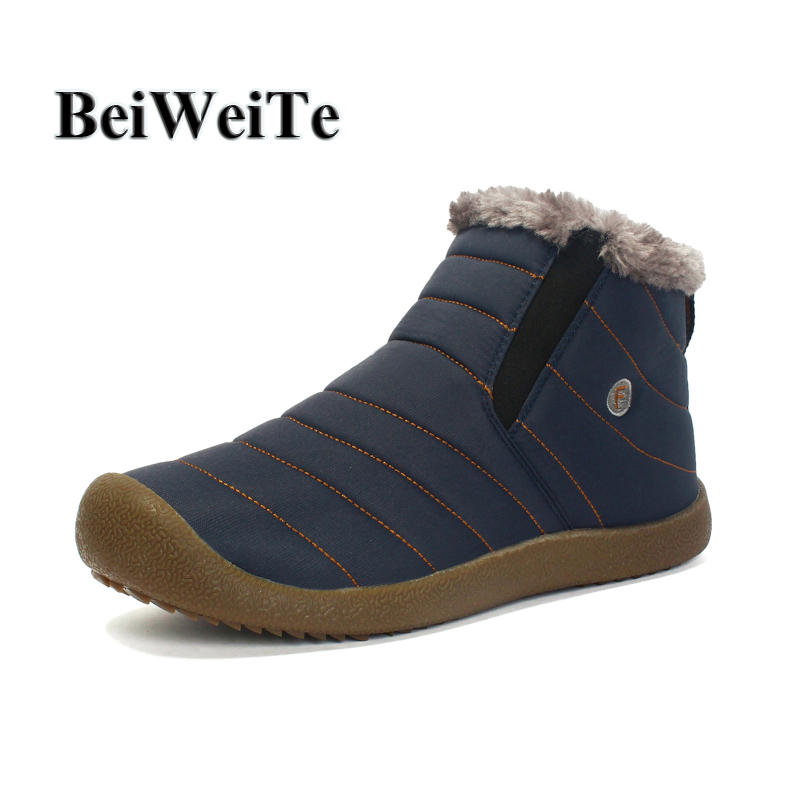 BeiWeiTe Big Size Men's Winter Outdoor Shoes With Fur Hiking Sports Sneakers For Women Waterproof Tourism Walking Snow Boots NEW