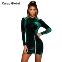 b5cae024604190 2019 New Fashion Spring And Autumn Women Dark Green Velvet Dress Round  Collar Long Sleeves Casual