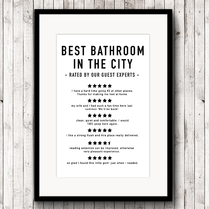 Funny Bathroom Reviews Canvas Art Prints and Poster , Bathroom Quotes Modern Minimalist Painting Picture Home Wall Art Decor