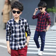 Shirts For boys spring children's baby boys shirts high quality brand boys plaid shirts kids tops tees fashion boys shirts L321