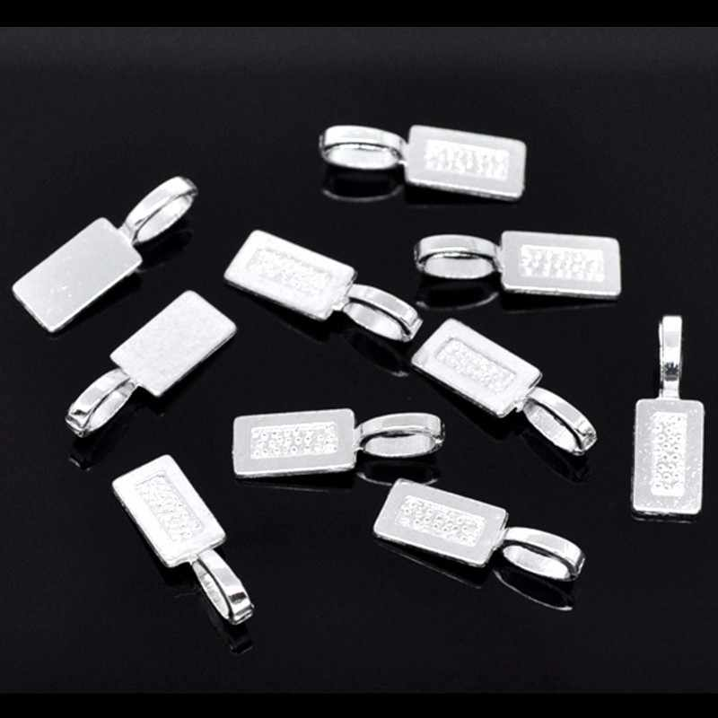 50PCs Jewelry Silver Plated Tag Glue on Bail 21x7mm Jewelry DIY #@