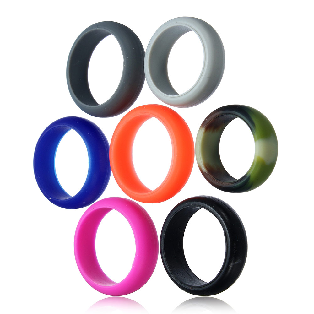 8mm Multicolor Size 712 Hypoallergenic Crossfit Flexible Silicone Rubber  Band Ring Wedding Engagement Vintage