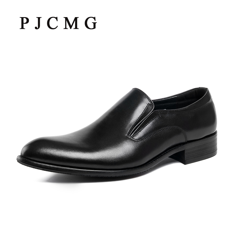 PJCMG High Quality Fashion Spring/Autumn Black/Red Genuine Leather Plain Flat Oxford Slip-On Dress Wedding Shoes For Men