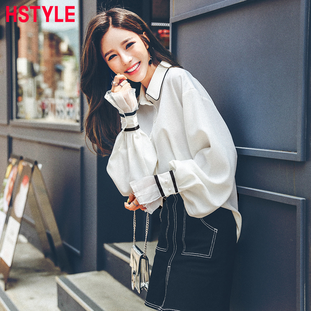 HSTYLE 2018 Summer Women Lace Blouse Shirts Loose Lantern Sleeve Blouse Solid Color Fashion Office Lady Blouse Chiffon Femme