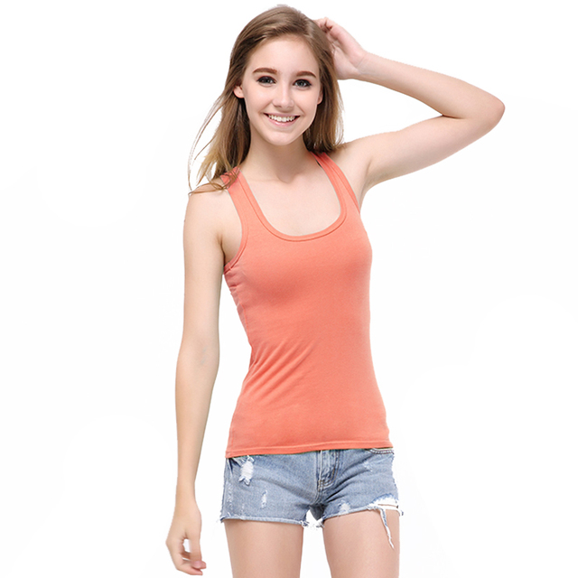Summer Women Candy Color Tanks Camisole Fitness A T Shirt Top 100% Cotton Singlet Plus Size Basic Tank Top 6 Sizes