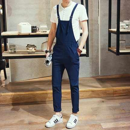 Spring Autumn Men Slim Overalls Black Blue Mens Suspender Pants Pocket Korean Style Summer Casual One Piece Jumpsuit For Men