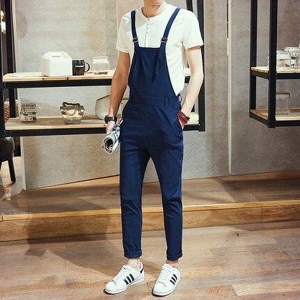 07435996f58b 2017 Spring Men Slim Fit Overall Black Blue Mens Suspender Pants Long Fashion  Casual One Piece Jumpsuit For Men