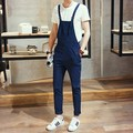 2017 Spring Men Slim Fit Overall Black Blue Mens Suspender Pants Long Fashion Casual One Piece Jumpsuit For Men