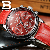 Suíça binger relógios femininos marca de luxo relógio de quartzo feminino à prova dwaterproof água relogio feminino safira relógio de pulso B-603W5