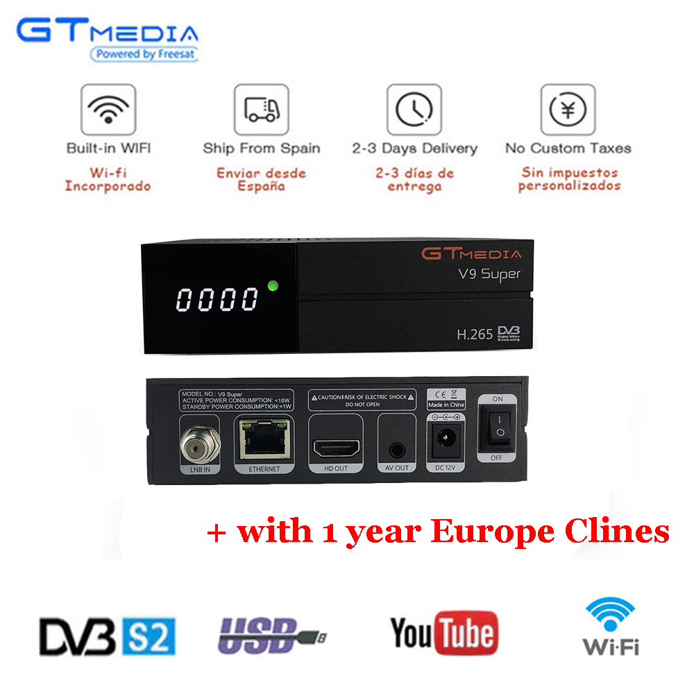 GTMedia V9 Super Satellite Receiver Bult in WiFi with 1 Year Spain Europe Cccam Cline Full