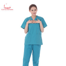 Oral nurses wear men's and women's split suits with short sleeves and long sleeves light grey top with stripe and long sleeves