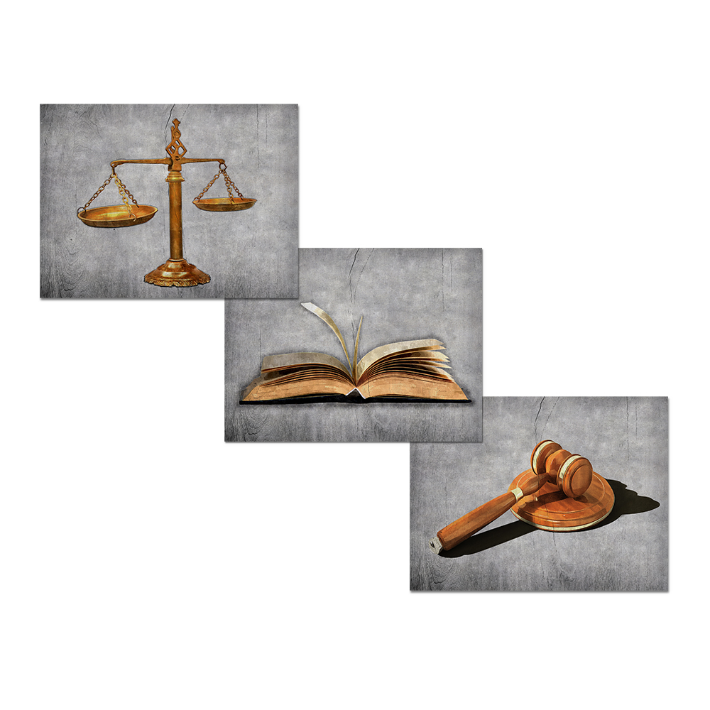 Visual Art Decor Scales Of Justice Lawyer Office Decor Picture Prints On Canvas Law Themed Painting Total 3 Pieces
