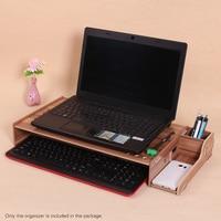 Wood Computer Monitor Stand Riser Laptop Shelf Desk Organizer holder with Keyboard Storage Adjustable Height for Office School