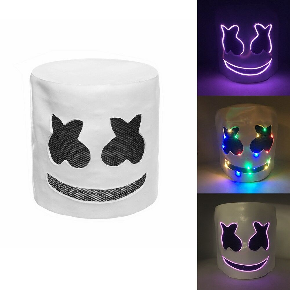 LED Latex Marshmello Helmet DJ Marshmallow Mask Concert Props Future Bass Marshmello Music Fans Carnival Bars Party Props Masks