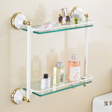 Wholesale and Retail Golden and White Bathroom Glass Cosmetics Holder Storage Shelf