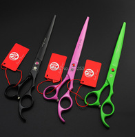 Colorful 8 0Inch Pet Grooming Cutting Scissors Paint Shears For Dog JP440C Professional Scissors With Free