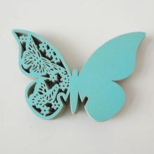 50pcs/lot New Laser Big Butterfly High-end Creative Pearl Paper Hollow Wedding Party Wine Glass Card  DIY Decorations