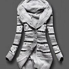 2016 Женщин Зимой Толстые С Капюшоном Кардиганы Свитера Руно Теплый Solid Свободные Трикотажные Пальто С Длинным Рукавом Трикотаж Верхняя Одежда F