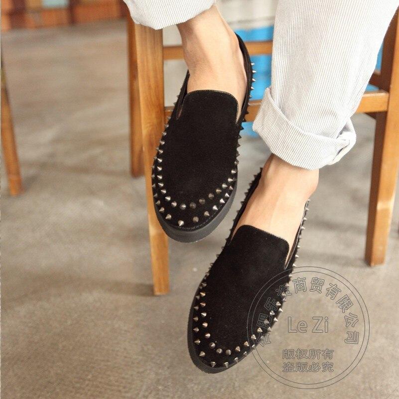 ФОТО Studded Street Dance Men Platform Shoes Matte Smoking Shoes Solid Punk Spiked Loafers Men Cow Split Mens Studded Loafers