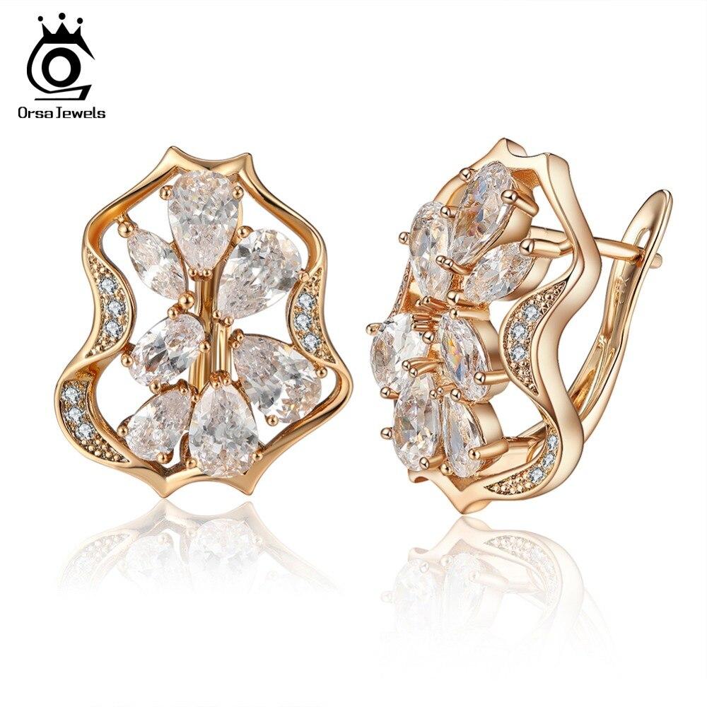 все цены на ORSA JEWELS High Quality Gold-color Women Stud Earrings Shiny AAA Clear Zircon Perfect Polished Fashion Earring Jewelry OME55-W онлайн