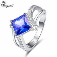lingmei New Arrival Square Multicolor & Blue White Cubic Zirconia Silver Color Ring Size 6 7 8 9 Luxury Elegant Women Jewelry