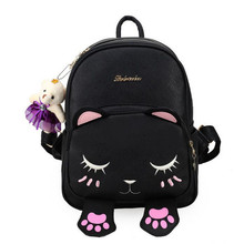 Funny Cartoon Cat Backpack Preppy Embroidery School Bag High Quality PU Leather Fashion Women Shoulder Bag Travel Bag Sac A Dos