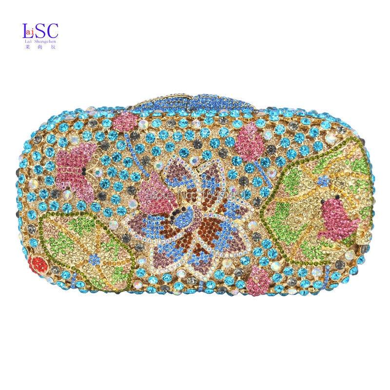 ФОТО Gold Silver Soiree Purse Pochette Luxury Crystal Clutch Bag Candy Frog Pattern Rhinestone Evening Party Ladies Bag SC195