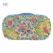 Gold Silber Soiree Geldbörse Pochette Luxus Kristall Handtasche Süßigkeiten Frosch Muster Strass Abend Party Damen Tasche SC195