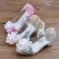 Весна новых детей повседневная shoes девочек princesss кристалл высокие каблуки shoes осенние одиночные shoes девушки банкетный shoes