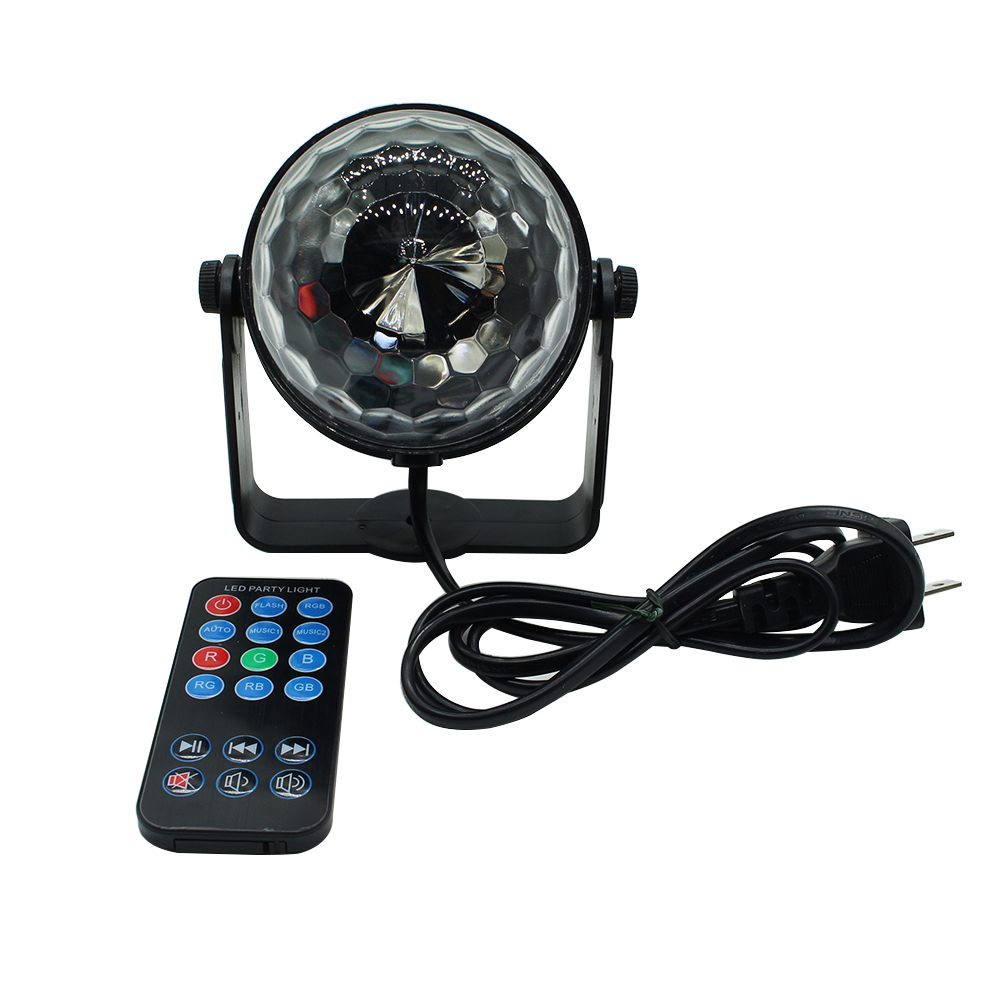 Mini AC85-265V 3W led stage light with wireless remote Sound activated Crystal Disco Ball light for Party,KTV,Bar
