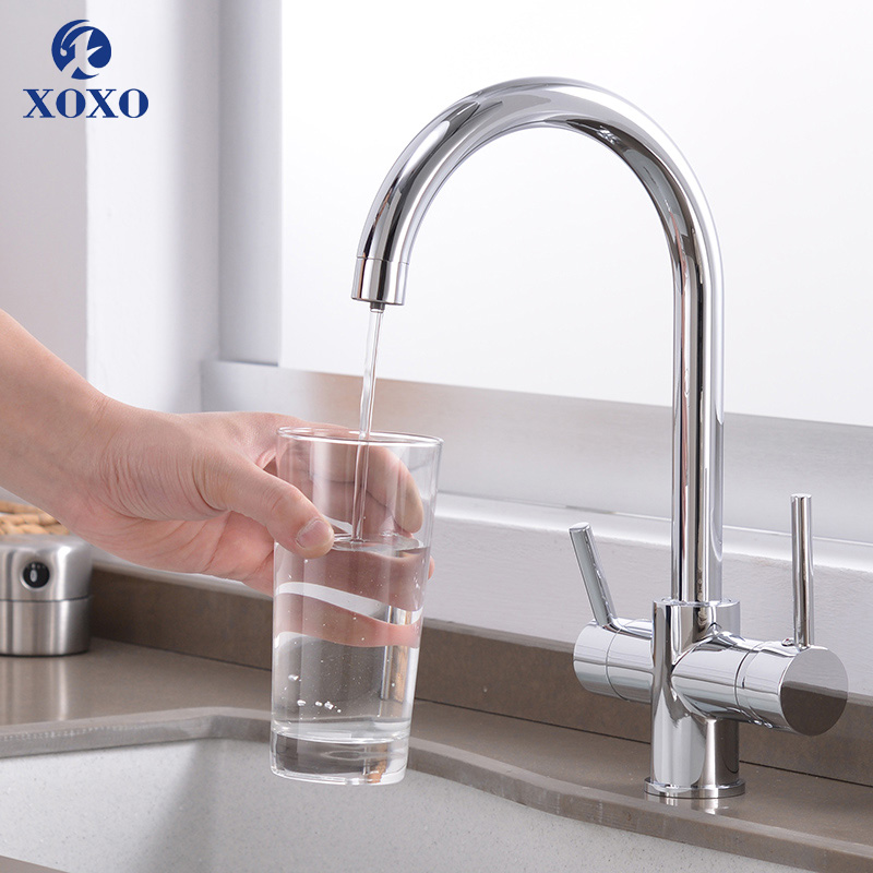 XOXOKitchen Purify Faucets Drinking Water Chrome Deck Mounted Mixer Tap 360 Rotation Pure Water Filter Kitchen Sinks Taps 81038-in Kitchen Faucets from Home Improvement    1