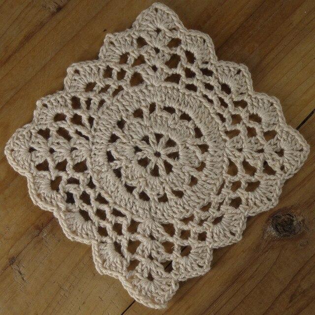 Tapetes de Ganchillo con Filet Crochet Patrón cuadrado Coaster Mat ...