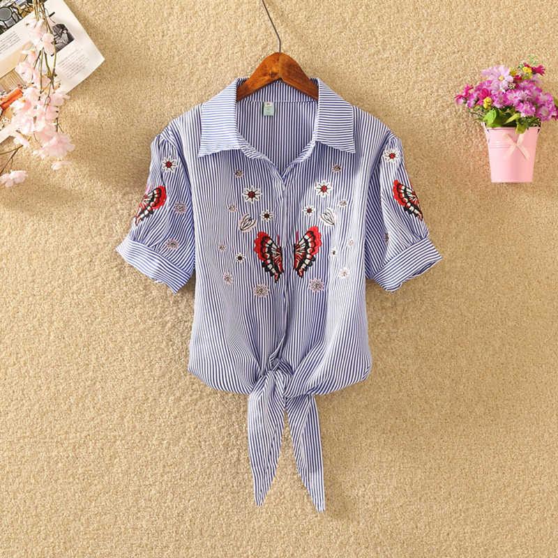 Новинка 2019, женская летняя блузка, рубашки, хлопок, короткий рукав, женская одежда, Офисная OL рубашка, полосатый бант, цветок, весенние женские блузки