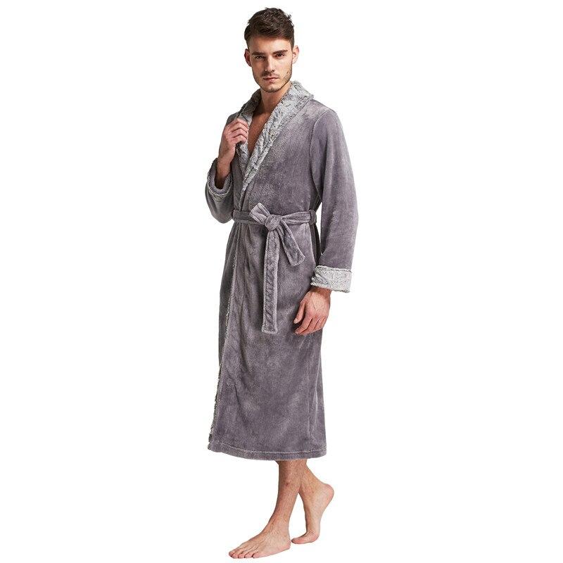 Tony   Candice Bathrobe Men Flannel Stitching Nightgowns ... 41c8e0e1c