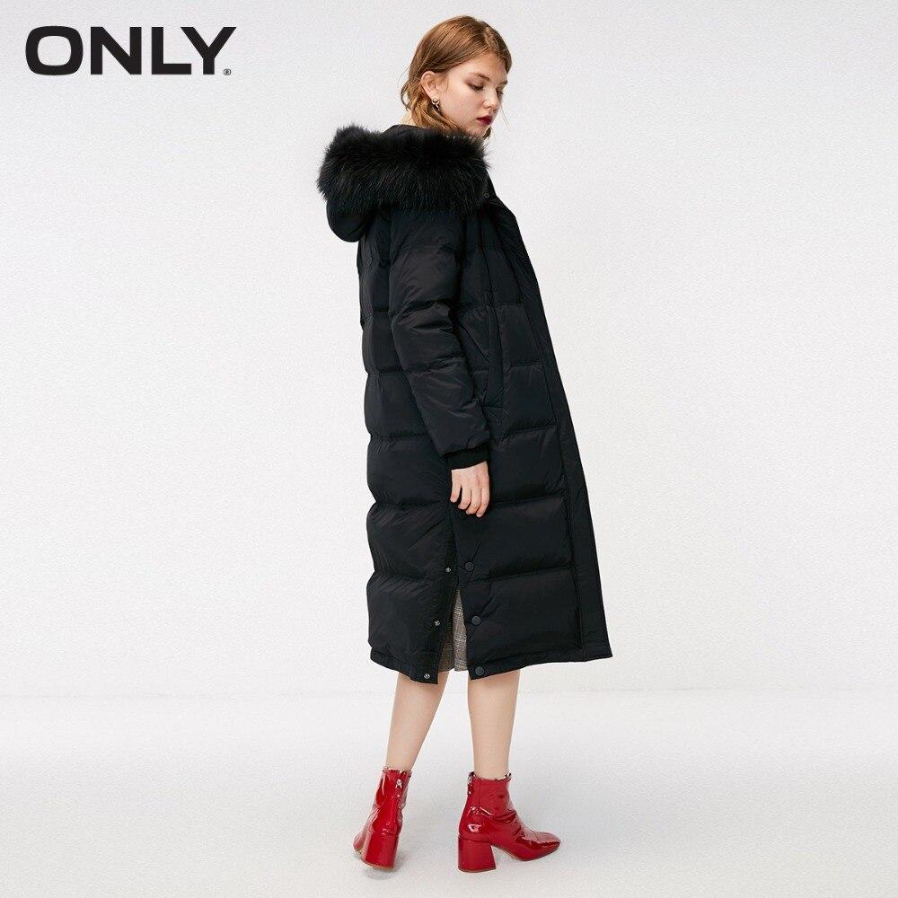 여성 전용 겨울 새로운 단색 모피 칼라 긴 자켓 사이드 버튼 슬릿 분리형 모피 칼라  118312550-에서다운 코트부터 여성 의류 의  그룹 3