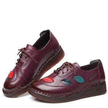 Chaussures De Style Doux | Xifairy G 2018 Nouveau Style Style Populaire Haut Rond Mère Bateau Chaussures Cousu à La Main En Cuir Véritable Loisirs Chaussures à Fond Souple Chaussures Plates