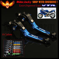 Logo VTR Blue+Black CNC Motorcycle Brake Clutch Levers For Honda VTR1000F / FIRESTORM 1998 2005 1999 2000 2001 2002 2003 2004