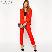 Red Womens Business Work Suits Female Office Uniform One Button Evening Dinner Ladies Formal Trouser Suits 2 Piece Blazer