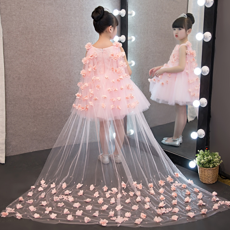 2017 New European Luxury Children Girls White Pink Red Princess Dress With Long Mesh Tail Korean Sweet Wedding Birthday Dress цена и фото